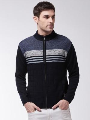 Sweven Checkered Turtle Neck Casual Men Dark Blue Sweater