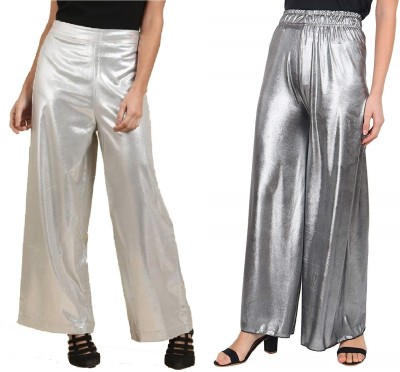 SriSaras Regular Fit, Flared, Relaxed Women Silver Trousers