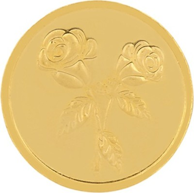 PC Jeweller Floral 22 K 2 g Yellow Gold Coin PC Jeweller Coins   Bars