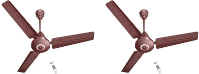 """HAVELLS Efficiencia Neo 48"""" Brown 5 Star 26 Watts 1200 mm, With Remote control, pack of 2 1200 mm 3 Blade Ceiling Fan(Brown, Pack of 2)"""