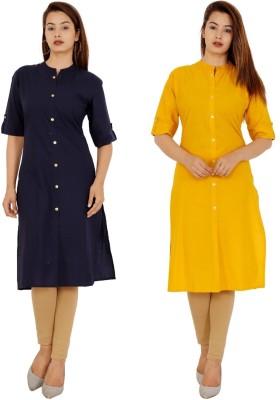 Rimeline Women Solid Frontslit Kurta(Dark Blue, Yellow)