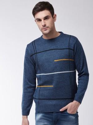 Sweven Striped Round Neck Casual Men Blue Sweater