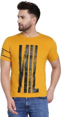 Denzolee Printed Men Round Neck Yellow T-Shirt