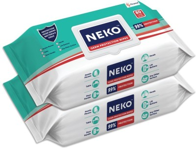 Neko Germ Protection Wipes for Multi-surfaces | Large (200 mm X 200 mm) - Lid Pack(160 Wipes)