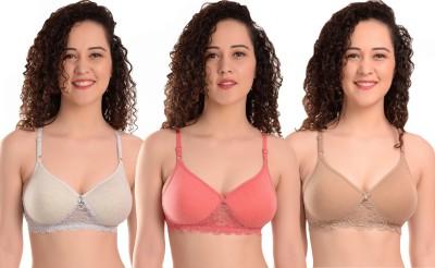MiEstilo Seamless Molded Women Full Coverage Lightly Padded Bra(Grey, Beige, Pink)