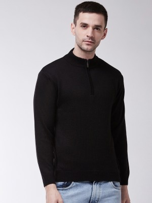 SWEVEN Solid Turtle Neck Formal Men Black Sweater