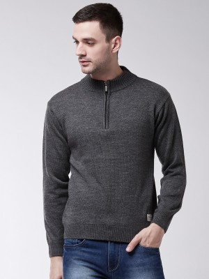 SWEVEN Solid Turtle Neck Formal Men Grey Sweater