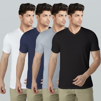 BLIVE Solid Men V Neck Multicolor T-Shirt(Pack of 4)