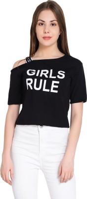 Raabta Fashion Casual Half Sleeve Printed Women Black Top