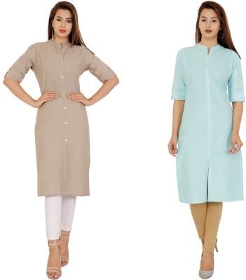 Rimeline Fashion Women Solid Straight Kurta(Light Blue, Grey)