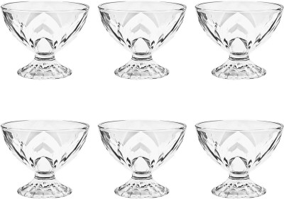 Treo Merlin Bowl Set Glass Dessert Bowl(Clear, Pack of 6)
