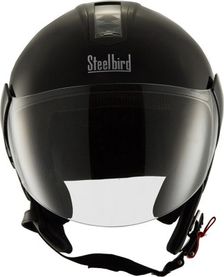 STEELBIRD SB-33 Eve Dashing Black Open Face Helmet(580 MM) Motorbike Helmet(Black)