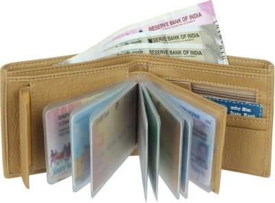yoze Men Casual Beige Artificial Leather Wallet(9 Card Slots)