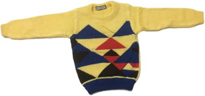 Cute Collection Woven Round Neck Party Baby Boys & Baby Girls Yellow Sweater