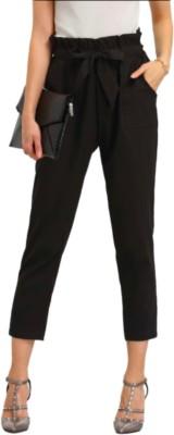 MS BOTTOM Slim Fit Women Black Trousers