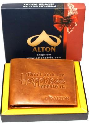 ALTON Men Tan Genuine Leather Wallet(10 Card Slots)