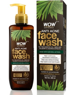 WOW SKIN SCIENCE Anti Acne  - with Tea Tree Essential Oil, Neem Leaf Extracts - For Controlling Acne, Blackheads & Spots - No Parabens, Sulphate, Silicones & Color - 200mL Face Wash(200 ml)
