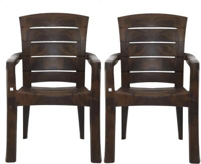 Restomatt Plastic Outdoor Chair(Brown, Set of 2)