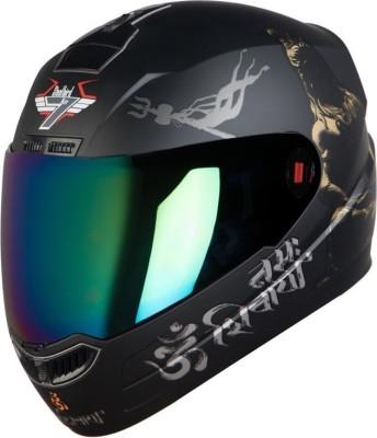 Steelbird SBA-1 Mahadev Motorbike Helmet(Matt Black Gold Gold Visor)