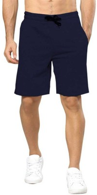 TRIPR Solid Men Dark Blue Regular Shorts