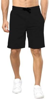 TRIPR Solid Men Black Regular Shorts