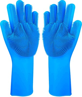 Flipkart SmartBuy Silicon Household Safety Wash Scrubber Heat Resistant Kitchen Gloves for Dish washing, Cleaning, Gardening Wet and Dry Glove(Free Size)