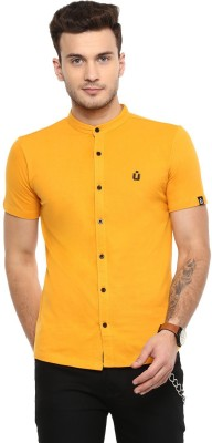 Urbano Fashion Men Solid Casual Yellow Shirt