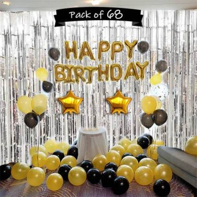 Saikara Collection Solid Happy Birthday Letter Foil Balloon with 50 Metallic Balloon, 3 Silver Foil Curtain (3 x 6 feet each) & 2 Gold Star(18 Inches) shaped Foil Balloons Balloon(Black, Gold, Silver, Pack of 1)
