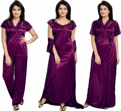 Kinu Women Nighty Set(Purple)