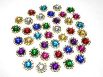 TAAJ Patches Colorful Round Shape Handmade Appliques Rhinestone Embellishments for Decoration,Crafts Ideas, Jewelery Making, Easy to Use Pack of 50 - Multi Diameter 15mm