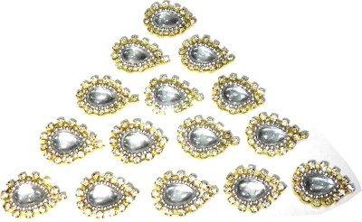 TAAJ Patches Colorful Drop Shape Handmade Appliques Rhinestone Embellishments for Decoration, Crafts Ideas, Jewelery Making, Easy to Use Pack of 50 - Silver Size- L 17mm W 14mm