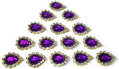 TAAJ Patches Colorful Drop Shape Handmade Appliques Rhinestone Embellishments for Decoration, Crafts Ideas, Jewelery Making, Easy to Use Pack of 50 - Purple L 17mm W 14mm