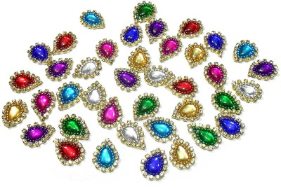 TAAJ Patches Colorful Drop Shape Handmade Appliques Rhinestone Embellishments for Decoration, Crafts Ideas, Jewelery Making, Easy to Use Pack of 50 - Multi Size- L 17mm W 14mm