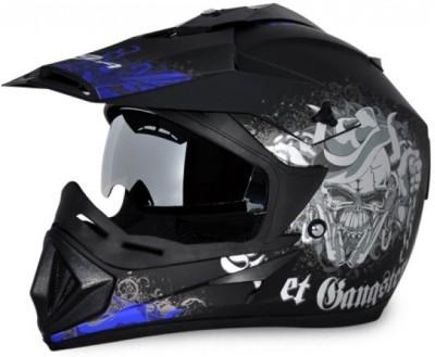 VEGA Off Road D/V Gangster Motorbike Helmet(Dull Black, Blue)