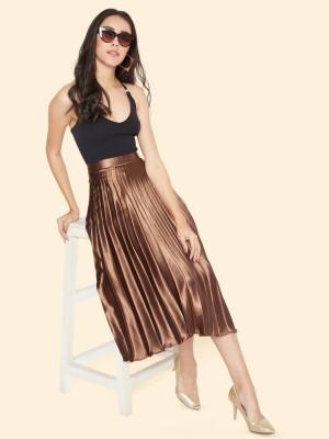 Uptownie Lite Solid Women Pleated Brown Skirt