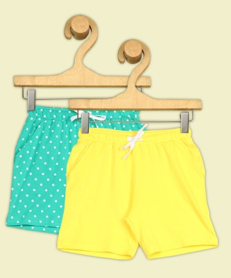 Miss & Chief Short For Girls Casual Solid, Polka Print Pure Cotton(Multicolor, Pack of 2)