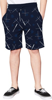 TRIPR Short For Boys Casual Printed Cotton Blend(Dark Blue, Pack of 1)