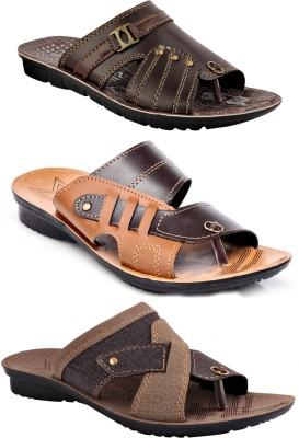 3SIX5 Combo Pack Of 3 Men Brown, Tan Sandals