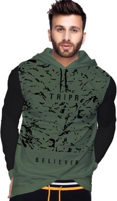 Tripr Printed Men Hooded Neck Dark Green, Black T-Shirt