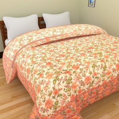 AADI & BROTHERS Floral Double Quilt(Cotton, Multicolor)