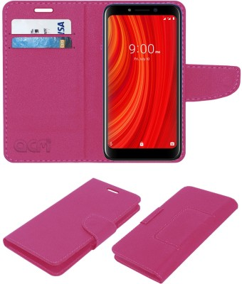 ACM Flip Cover for Lava Z61 Pro(Pink, Cases with Holder)