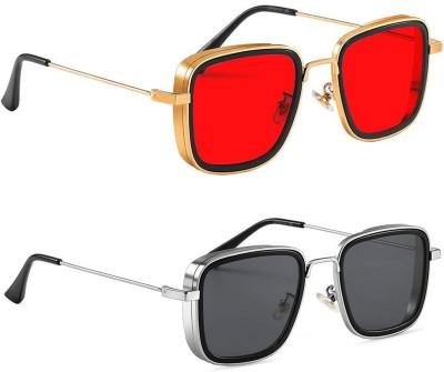 Phenomenal Retro Square Sunglasses(Red, Black)