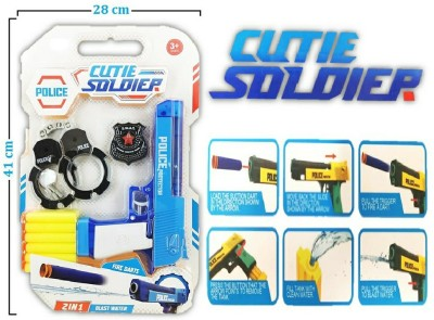 Richuzers Cutie Soldier Police Set 2 in 1 Blast Water Revolver Blaster Gun With 12 Foam Bullets Handcuff and Police Badge Weapon Sets & Accessories(Multicolor)