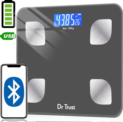 Dr. Trust (USA) Model-505 Bluetooth Digital Smart Fitness Body Fat Composition Analyzer BMI Weight Machine For Human USB Electronic Rechargeable Weighing Scale  (Grey)