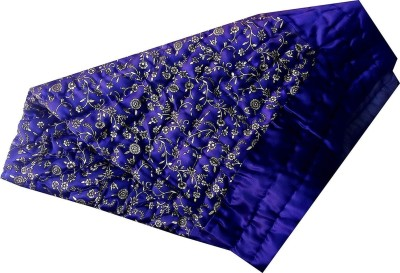 AADI & BROTHERS Floral Single Quilt(Silk, Blue, White)