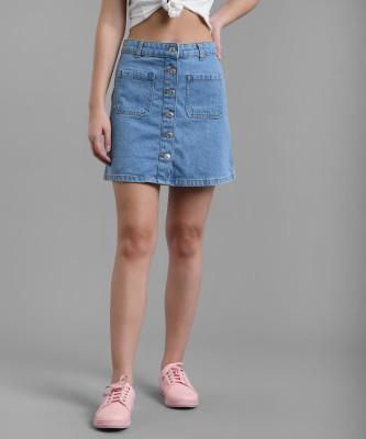 KOTTY Solid Women Straight Blue Skirt