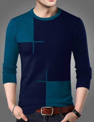 Try This Color Block Men Round Neck Blue T-Shirt