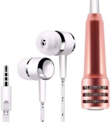 Worivo Mini Karaoke Mic with Earphone for Voice Recording,Singing Wired Wired Headset(Multicolor, In the Ear)