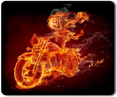 5 ACE Anti skid animated skull biker full fire Printed designer speed Mouse pad for PC/Laptop  7x8.5 Inches Mousepad(Multicolor)