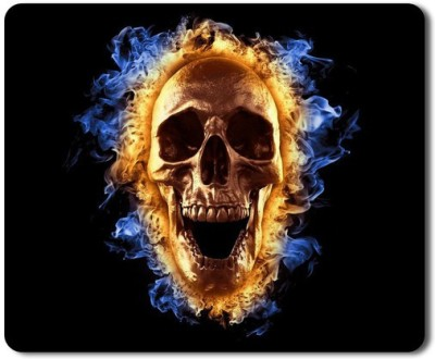 5 ACE Anti skid animated skull in fire Printed designer speed Mouse pad for PC/Laptop  7x8.5 Inches Mousepad(Black&Blue&Gold)